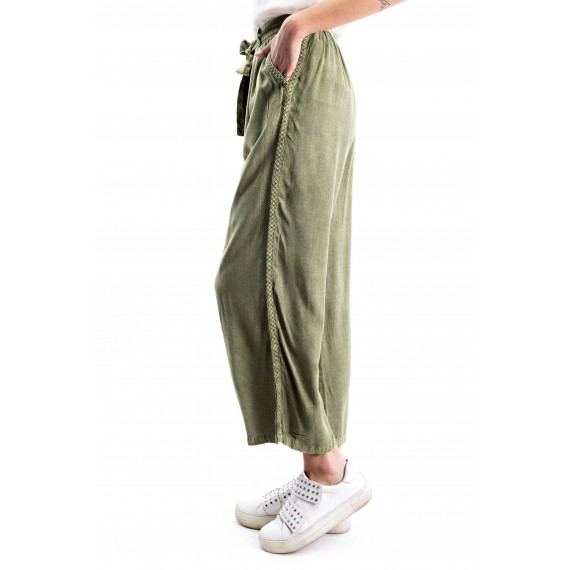 Olive Enzyme Washed Embroi red Palazzo Pants