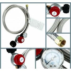 0~30PSI High Pressure Adjustable Propane Regulator w/5FT SS Braided Hose