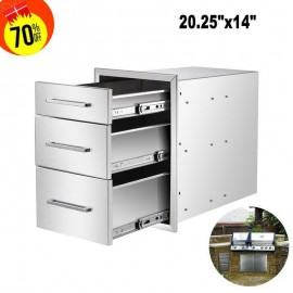 14'' Triple Outdoor Kitchen BBQ Island Components Stainless Steel Access Drawer