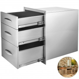 """14.8""""X21"""" BBQ Drawer Outdoor Kitchen Drawers Walled Stainless Steel Square"""