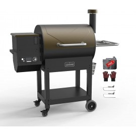 ASMOKE Electric Wood Fired Pellet Grill and Smoker 700 sq in, Pack of 5 BBQ Kit, 8 in 1 Outdoor Cooking BBQ Cooker, PID Control Temperature,Front Shelf ,25.8lbs Large Hopper, Safe Certification,