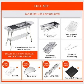 Ai-yixi Barbecue Grill, Barbecue Accessories, Outdoor Stainless Steel Charcoal Grill Barbecue Tool Portable Release Installation Handle Fold BBQ Cooking Grid, Grill (Color : Full Set)
