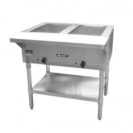 Adcraft ST-120/2 Two-Pan Electric Steam Table with Undershelf, Stainless Steel, 120v