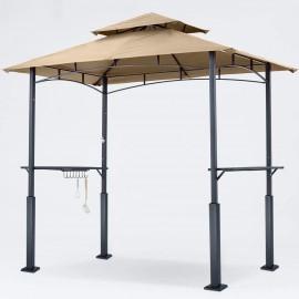 ABCCANOPY 8'x 5' Grill Gazebo Shelter, Outdoor BBQ Gazebo Canopy with LED Light (Khaki)