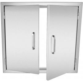 ACUMSTE BBQ Access Door 26W x 24H Inch, Vertical Double BBQ Door Stainless Steel, Flush Mount for Outdoor Kitchen Doors for BBQ Island, Grilling Station, Outside Cabinet