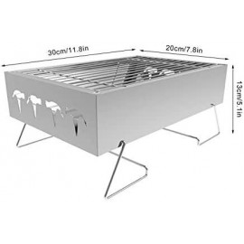 A-hyt Barbecue Grill, Stainless Steel BBQ Grill Mini BBQ Grill Portable Fold Barbecue Grill Domicile Camping Cooking Tool BBQ Accessories (Color : Silver, Size : A)