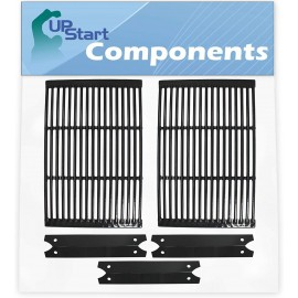2 BBQ Grill Cooking Grates & 3 Heat Shield Plate Tent Replacement Parts for Brinkmann 810-4345-0 - Compatible Barbeque Porcelain Enameled Cast Iron Grid 19