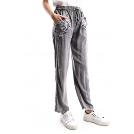Grey Embroi red Pocket Washed Pants