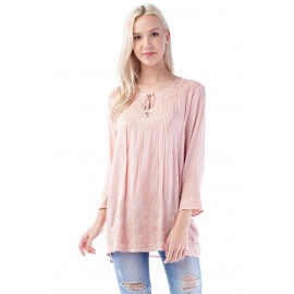 agne Pink Pleated Blouse