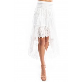 Cotton Eyelet F ric High Low Skirt