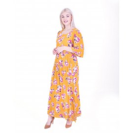Mustard  ellow Floral Maxi Dress