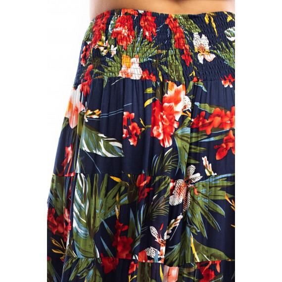 Floor Printed High Low Skirt