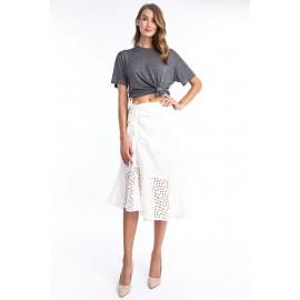 Linen E elet As mmetrical Ruffle Tier Skirt