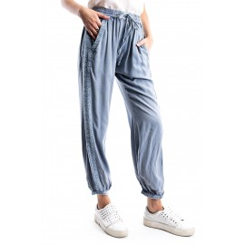 Light Blue Enzyme Wash Embroi red Jogger
