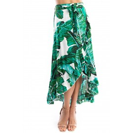 B  a Leaf Ruffled Maxi Skirt
