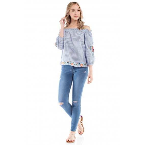 Off-Shoul r Striped Embroi red Blouse